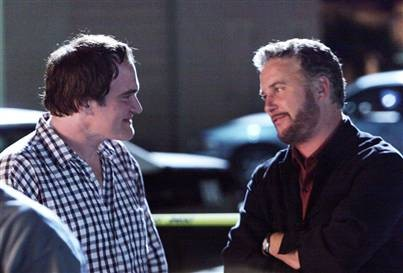 Quentin Tarantino e William Petersen sul set del doppio episodio Sepolto vivo di CSI