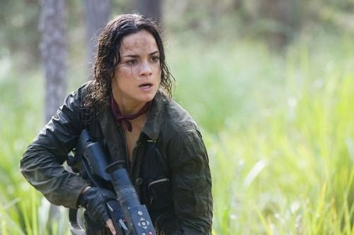 Un'agguerrita Alice Braga nel film Predators