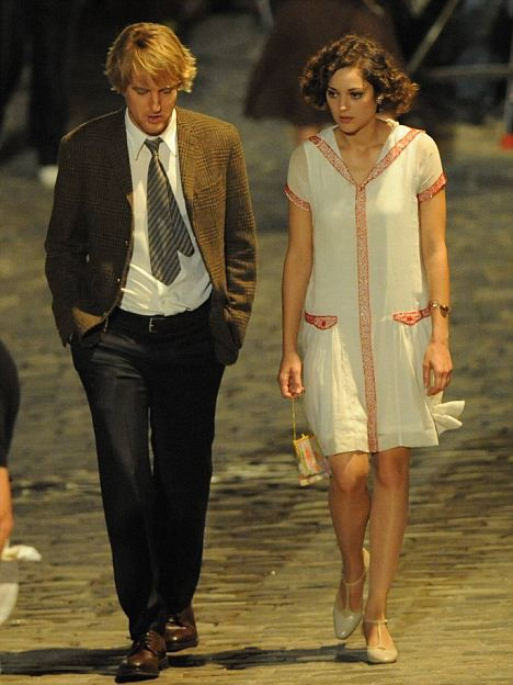 Owen Wilson e Marion Cotillard sul set di Midnight in Paris