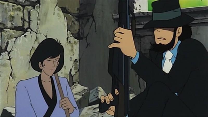 Jigen e Goemon in una scena del film d\'animazione Lupin III: Il castello di Cagliostro