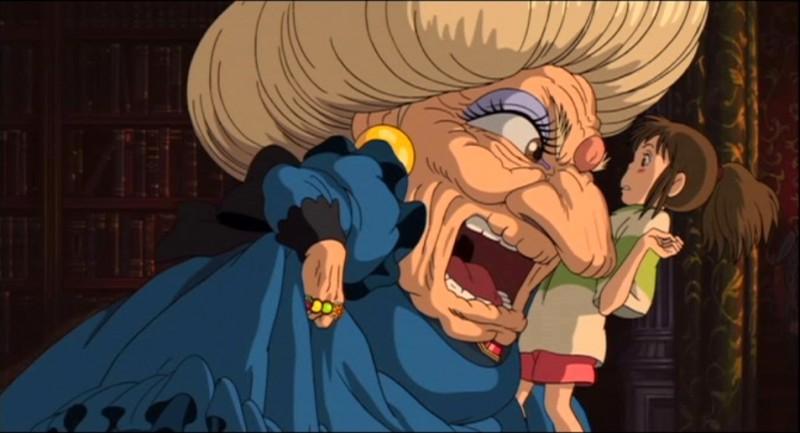 Chihiro e la strega Yubaba in una scena del film d\'animazione La città incantata - Spirited Away