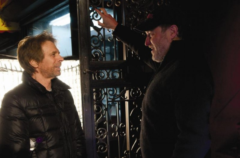 Il produttore Jerry Bruckheimer e il regista Jon Turteltaub sul set del film L'apprendista stregone