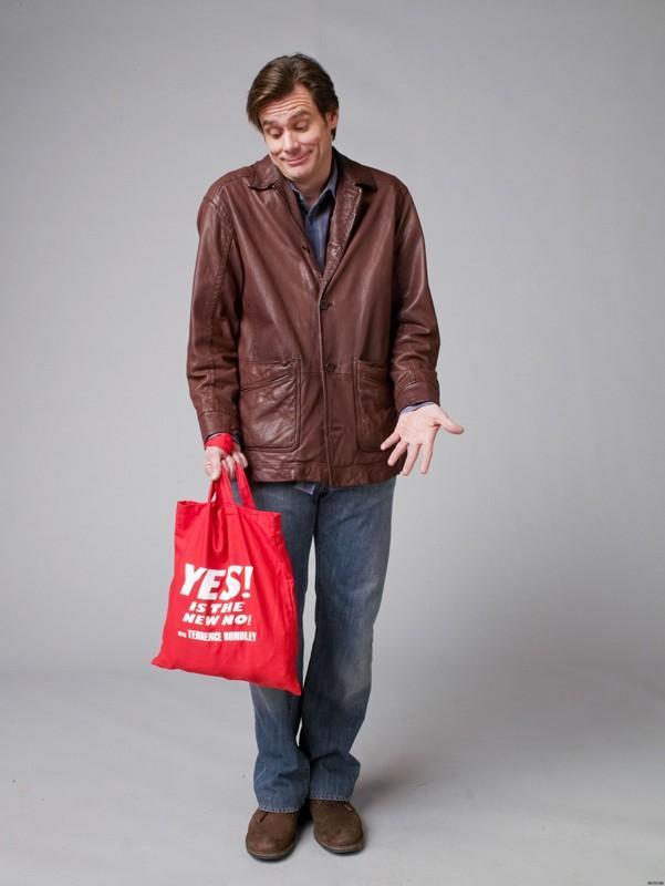 Jim Carrey in una buffa immagine per il film Yes Man