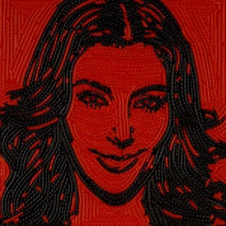 Kim Kardashian in un ritratto realizzato con liquirizia firmato da Jason Mecier