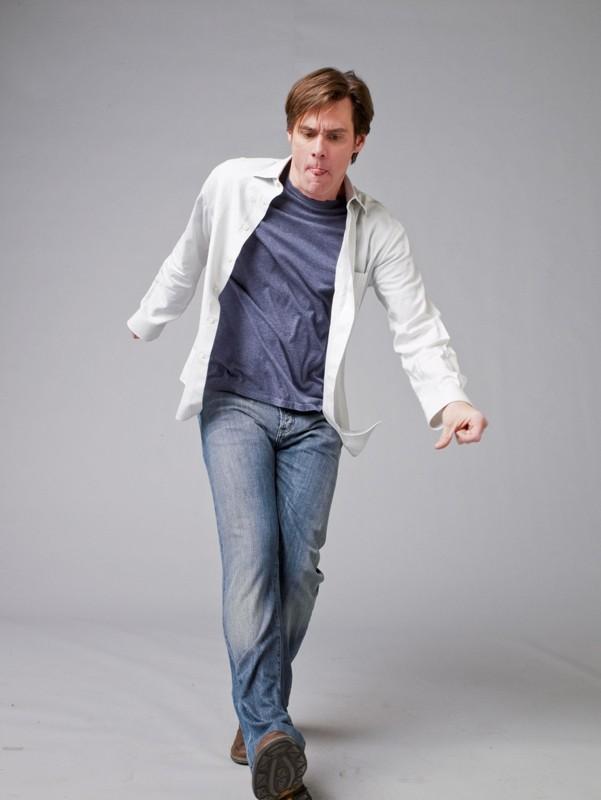 Un simpatico Jim Carrey per una foto promo del film Yes Man