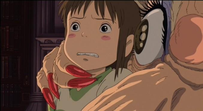 Chihiro e la perfida strega Yubaba  in una scena de La città incantata - Spirited Away