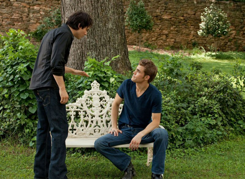 Damon (Ian Somerhalder) discute con Stefan (Paul Wesley) nell'episodio The Return di Vampire Diaries