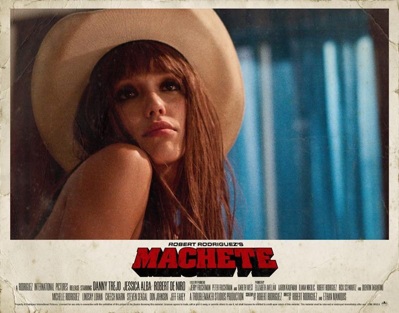 Un poster della bellissima Jessica Alba per il film Machete