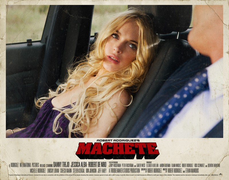 Un poster orizzontale di Lindsay Lohan per il film Machete