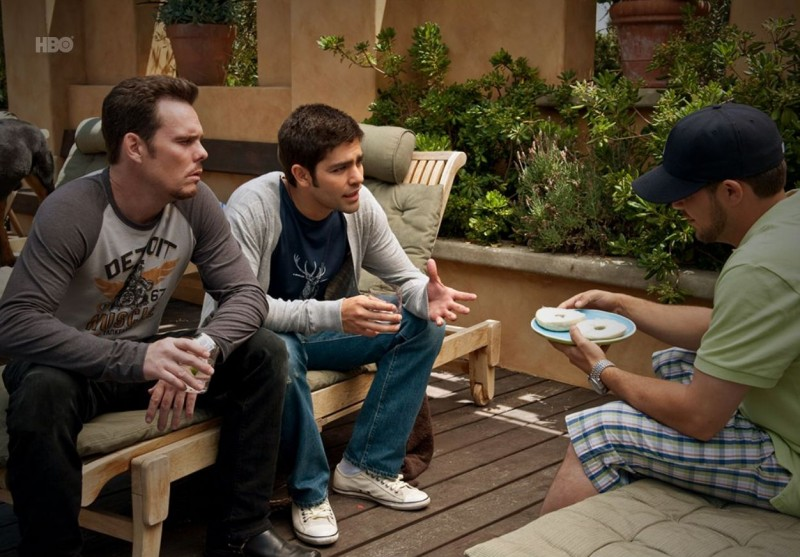 Adrian Grenier, Kevin Dillon e Jerry Ferrara nell'episodio Hair di Entourage