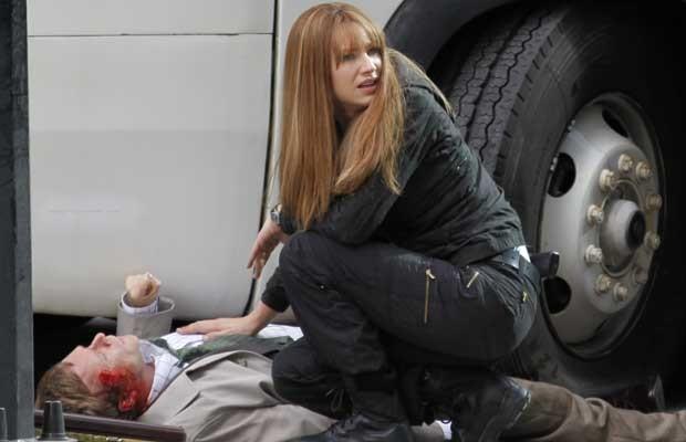 Anna Torv sul set della stagione 3 di Fringe