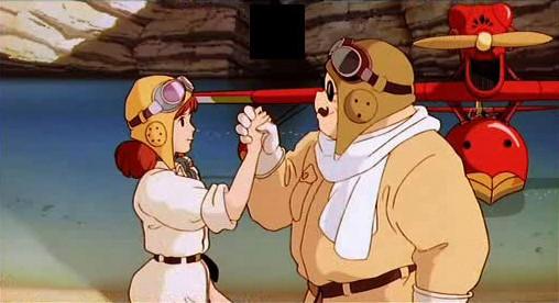 Il protagonista in una scena del film d\'animazione Porco Rosso del 1992