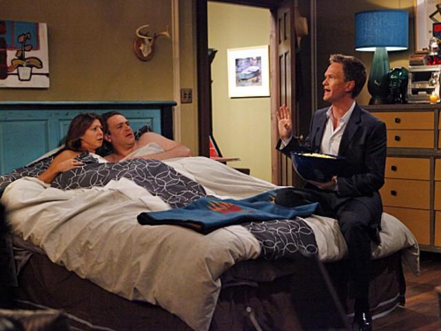 Neil Patrick Harris, Jason Segel ed Alyson Hannigan nell'episodio Doppelgangers di How I Met Your Mothers