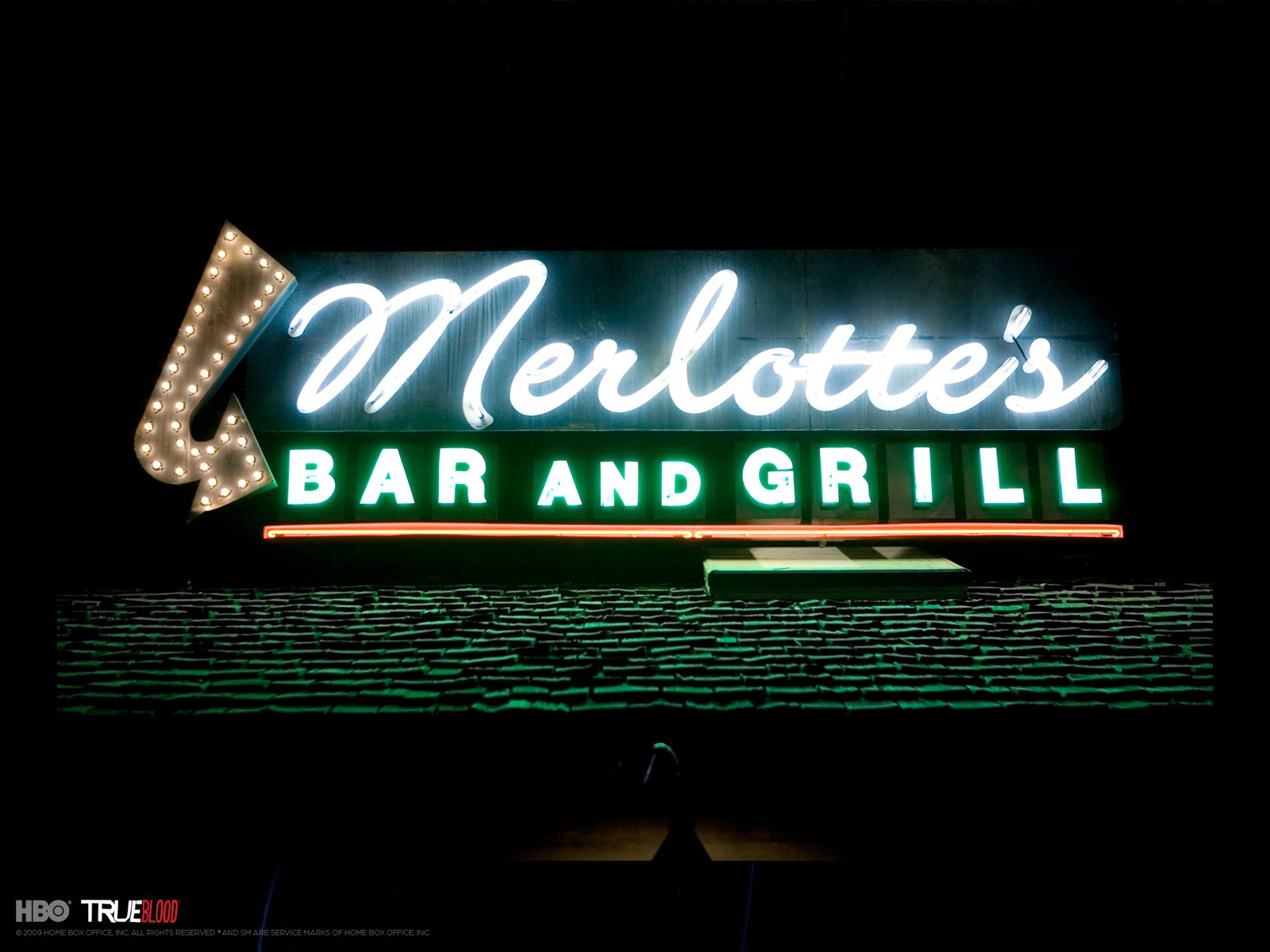 Un wallpaper del Merlotte's Bar per la stagione 3 di True Blood