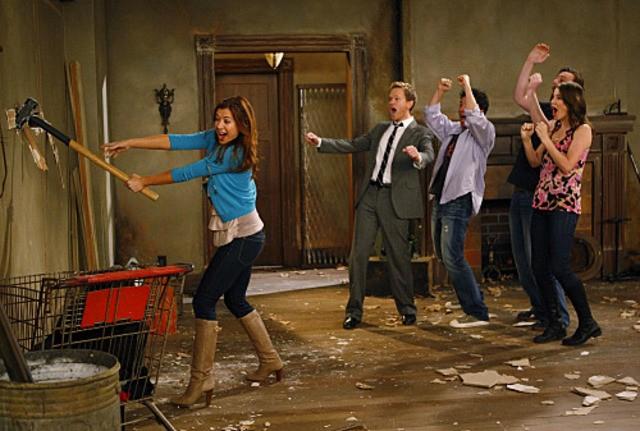 Una scena di gruppo dell'episodio Home Wreckers di How I Met Your Mother