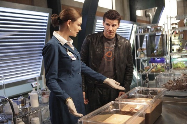 Emily Deschanel e David Boreanaz nell'episodio The Proof in the Pudding di Bones