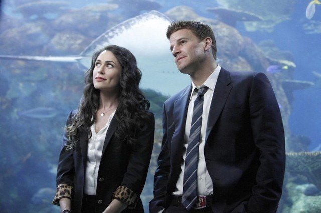 La guest star Rena Sofer e David Boreanaz nell'episodio The Predator in the Pool di Bones