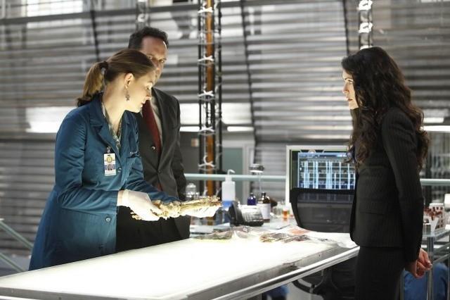 Le guest star Rena Sofer e Diedrich Bader con Emily Deschanel nell'episodio The Predator in the Pool di Bones