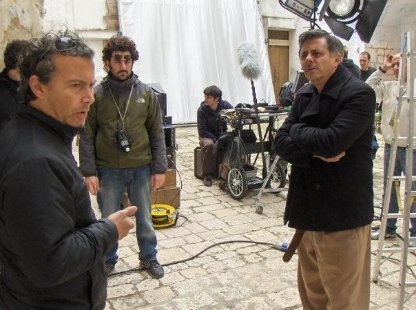 Paolo Sassanelli, Federico Annicchiarico e Dino Abbrescia sul set di UERRA