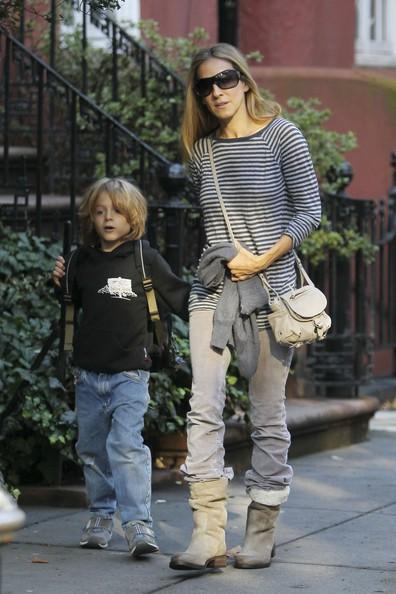Sarah Jessica Parker prende il figlio James a scuola a New York