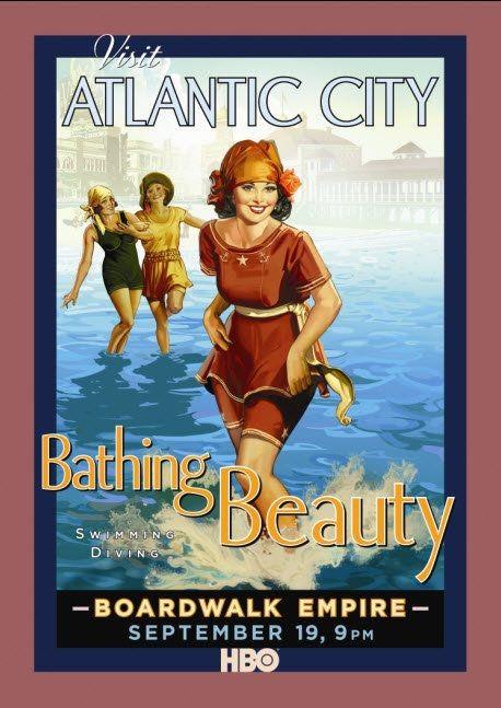Poster promozionale della serie 'Visit Atlantic City' per Boardwalk Empire di Martin Scorsese