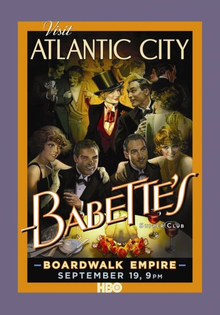 Poster promozionale 'Visit Atlantic City' per la serie Boardwalk Empire di Martin Scorsese