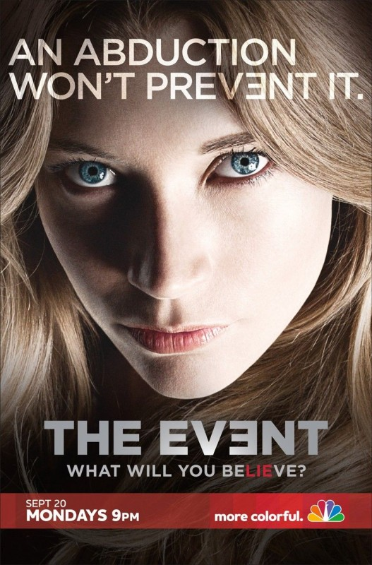 Un poster della serie TV The Event con lo slogan 'An Abduction can't Prevent It'