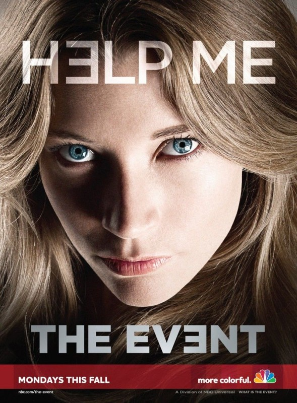 Un poster della serie TV The Event con lo slogan 'Help me'