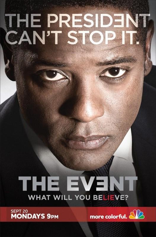 Un poster della serie TV The Event con lo slogan 'The President can't Stop It'