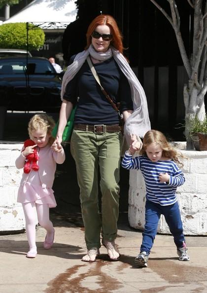Attrice Marcia Cross e le gemelle Eden e Savannah Mahoney a Brentwood