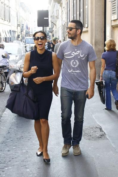 Rosario Dawson con il fidanzato Mathieu Schreyer durante la Milano Fashion Week