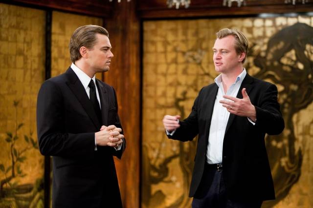 Christopher Nolan e Leonardo DiCaprio sul set di Inception