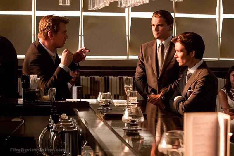 Leonardo DiCaprio e Cillian Murphy sul set di Inception con Christopher Nolan