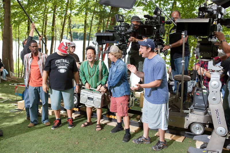 Chris Rock, Kevin James, Rob Schneider, David Spade e Adam Sandler sul set di Un weekend da bamboccioni