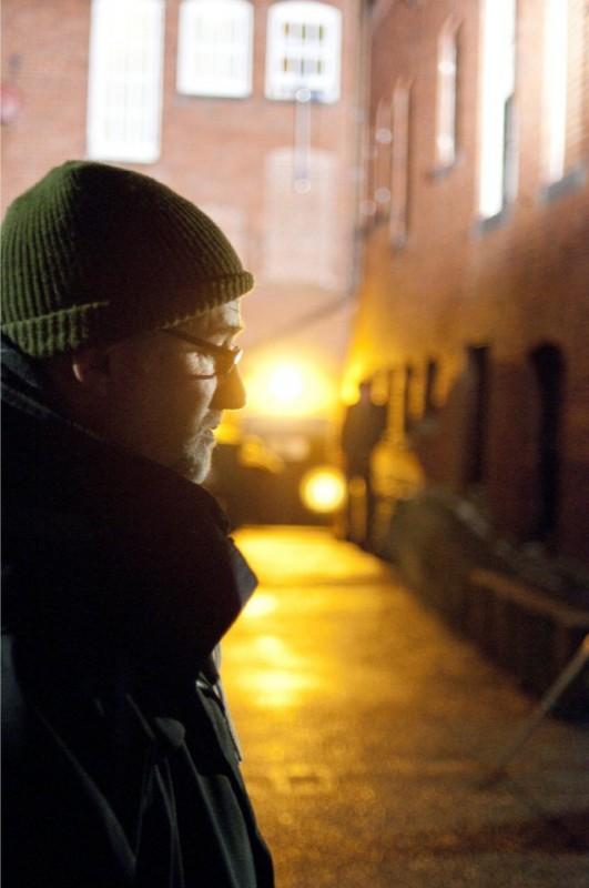 Il regista David Fincher sul set del suo The Social Network