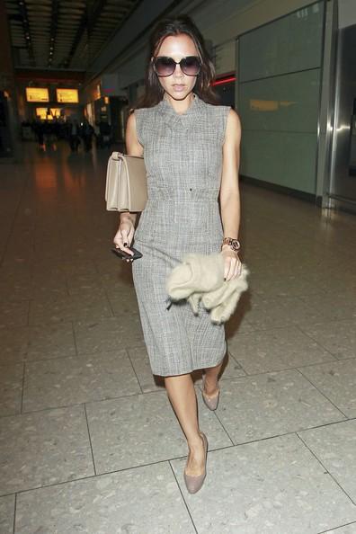 Victoria Beckham nell'aeroporto di Heathrow a Londra