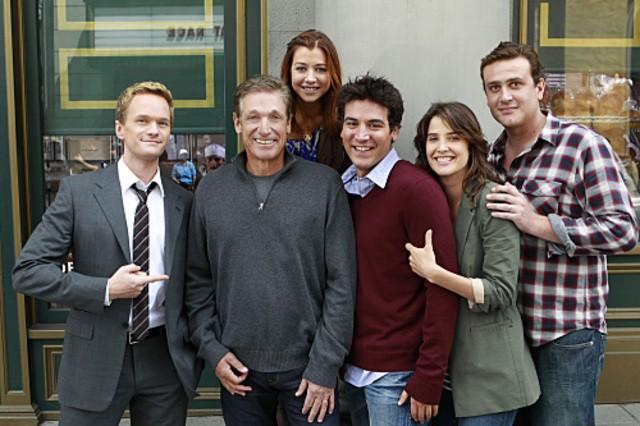 Il cast di How I Met Your Mother sul set dell'episodio Subway Wars