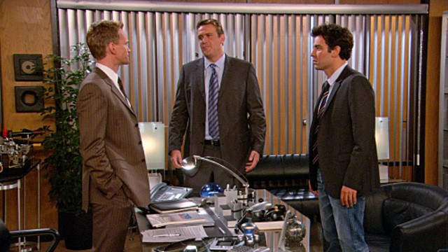 Josh Radnor, Neil Patrick Harris e Jason Segel nell'episodio Unfinished di How I Met Your Mother