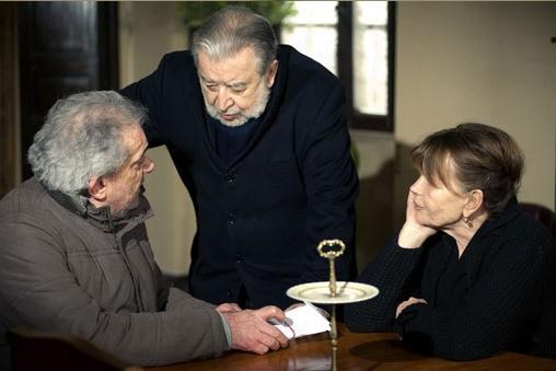 L'attore Gianni Cavina  con il regista Pupi Avati sul set del film Una sconfinata giovinezza