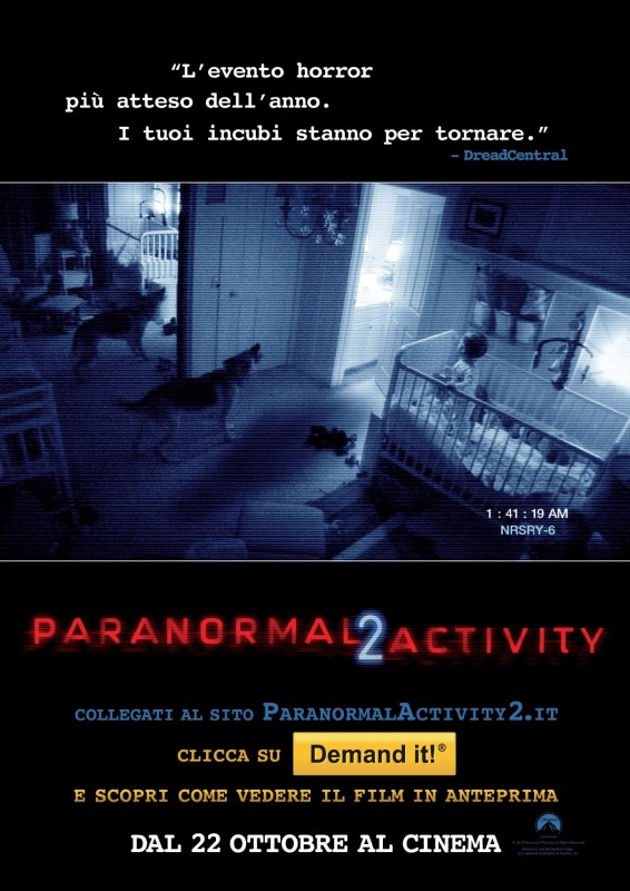 La locandina italiana di Paranormal Activity 2