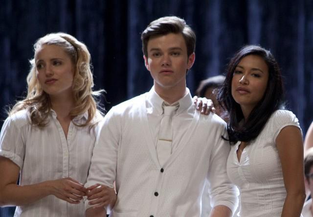 Dianna Agron, Chris Colfer e Naya Rivera nell'episodio 'Grilled Cheesus' della seconda stagione di Glee