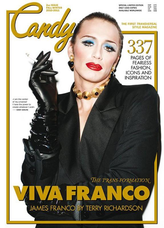 James Franco en travesti sul magazine Candy.