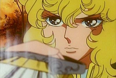 Primo piano della protagonista in una scena di Lady Oscar