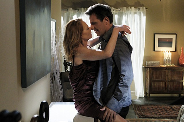 Alex Carter e Marg Helgenberger nell'episodio Blood Moon di CSI