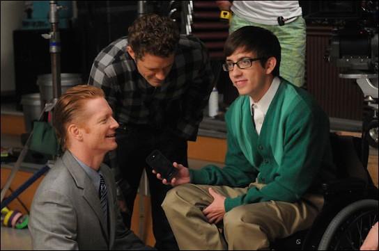 Un'immagine dal set dell'episodio Duets di Glee