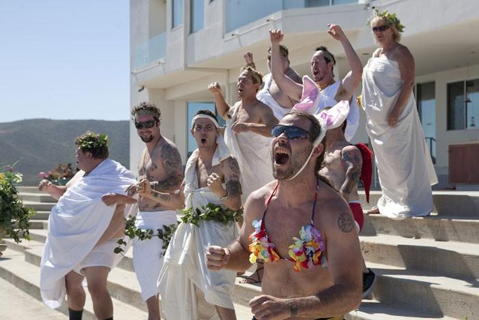 Jason Acuña, Bam Margera, Chris Pontius, Steve-O e Preston Lacy, protagonisti di Jackass 3-D