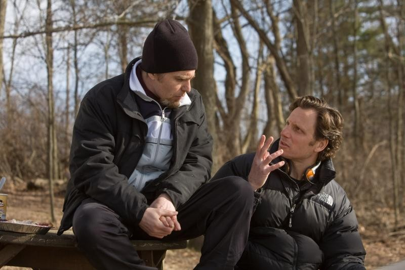 Sam Rockwell con il regista Tony Goldwyn sul set di Conviction