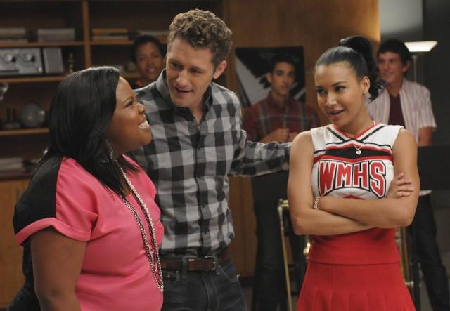 Matthew Morrison, Naya Rivera e Amber Riley nell'episodio Duets di Glee