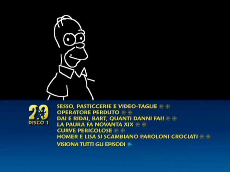 Un fotogramma dell'animazione del menu del primo disco del cofanetto de I Simpson - Stagione 20