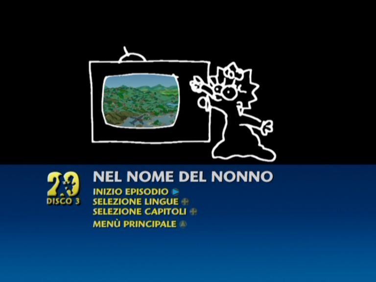 Una schermata del menu di un episodio del primo disco del cofanetto de I Simpson - Stagione 20